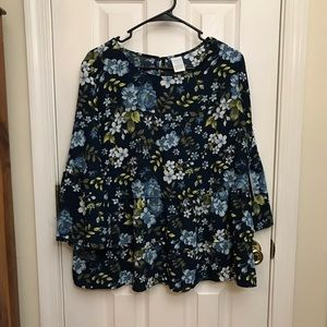 Fall Floral Navy Peplum Top Time and Tru Large
